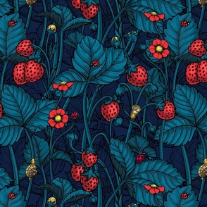 Wild strawberries with blue leaves on dark blue