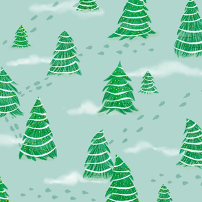 Christmas Trees in Snow on Mint Green