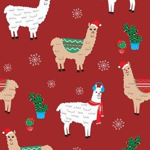 Christmas Llamas in dark red