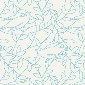 birds and vines aqua and cream