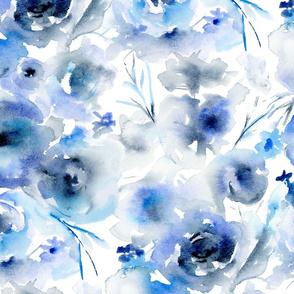 Large Blue Watercolor Floral