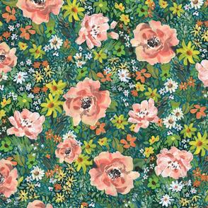 Large Blush Floral on teal, greens