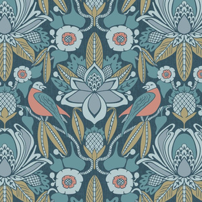 Tanager, Blue, Coral, Olive- Midsized