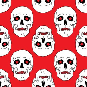 Punk skulls Red and White Medium scale Non directional