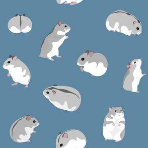 Dwarf Hamsters on Petrol Blue - Large Scale