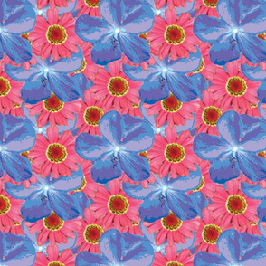 Blues and Pinks Water Color Floral XL