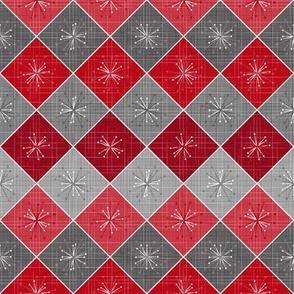 Atomic Age Starburst Check - Red Grey