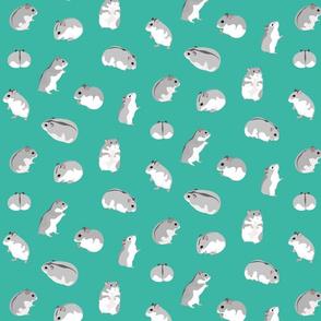 Dwarf Hamsters on Turquoise - Medium Scale