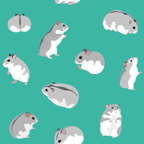 Dwarf Hamsters on Turquoise - Large Scale