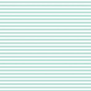 Small Pastel Mint Bengal Stripe Pattern Horizontal in White