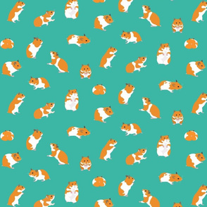Golden Hamsters on Turquoise - Medium scale