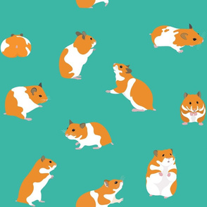 Golden Hamsters on Turquoise - large scale