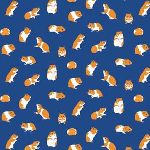 Golden Hamsters on Blue - medium scale