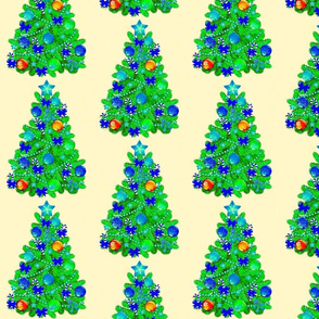 Blue decorated Christmas trees