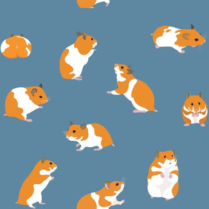 Golden Hamsters on Petrol Blue - large scale