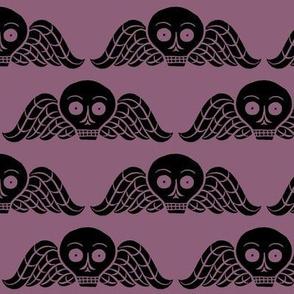 winged skull - plum