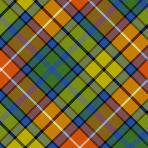 "Buchanan ancient tartan - 6"" diagonal, warmer colors"