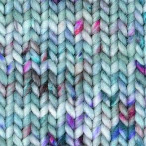 Chunky speckled stockinette stitch - light blue