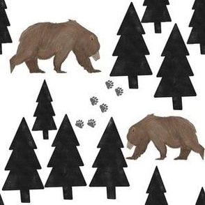 bear, pine tree, forest, boy nursery