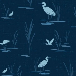 Low Country Egrets on Navy - Large Scale