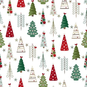 Scandinavian Christmas Trees Classic - White Background