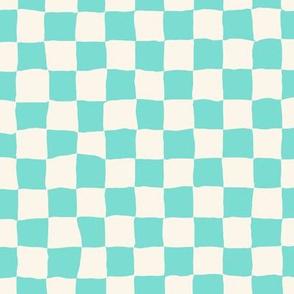 Roller Rink Checkerboard  - Aqua
