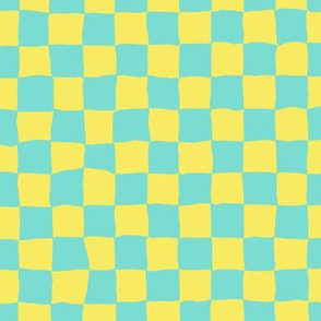 Roller Rink Checkerboard - Yellow and Aqua