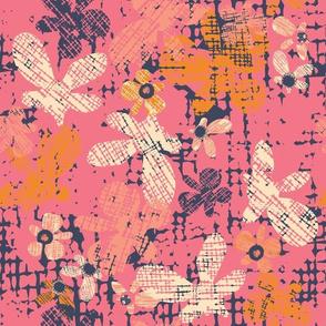 Cross Hatch Flowers Peekaboo Navy