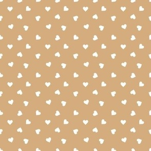 Love lovers minimal hearts basic romantic heart design cinnamon beige yellow white tossed tiny