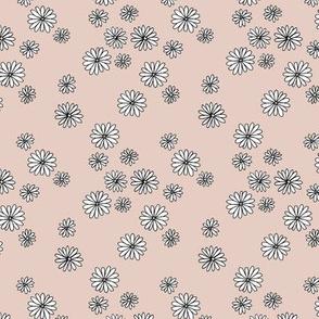 Little boho daisy garden flower blossom soft pastel neutral nursery baby old rose blush white SMALL
