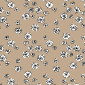 Little boho daisy garden flower blossom soft pastel neutral nursery baby beige sand white SMALL