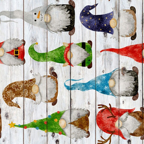 Christmas Gnome Assortment on Shiplap Rotated - large scale