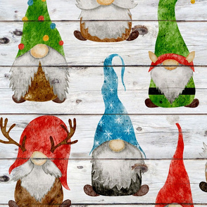 Christmas Gnome Assortment on Shiplap - large scale