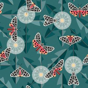 tiger moth and dandelion