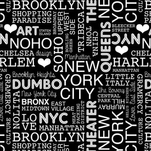 New York City pastel lovers typography pattern black and white monochrome