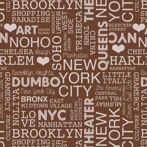 New York City pastel lovers typography pattern chocolate brown beige