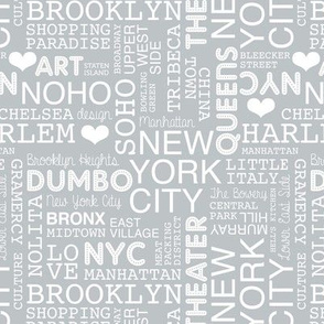 New York City pastel lovers typography pattern cool gray white