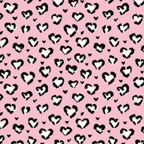 Little Valentine hearts leopard design messy animal print boho nursery trend white on pink