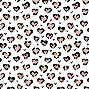 Little Valentine hearts leopard design messy animal print boho nursery trend peach black on white