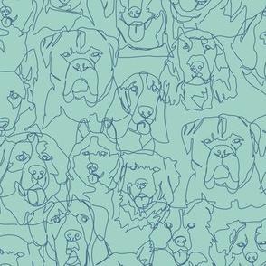 dog continuous line contour - blue