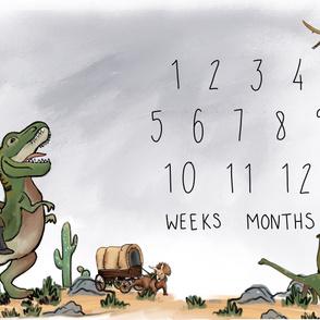 Dinosaur Roundup Milestone Blanket