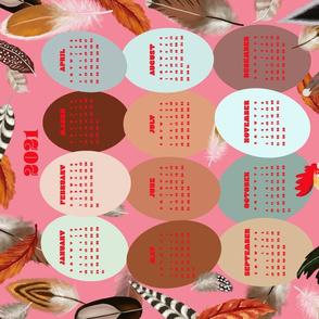 A Dozen Eggs 2021 Tea towel Calendar Pink
