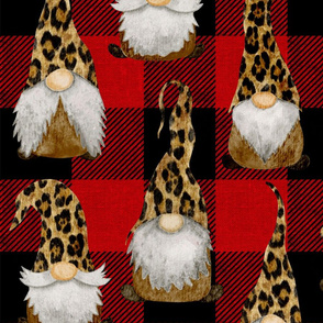 Leopard Gnomes on Red Buffalo Plaid - large scale