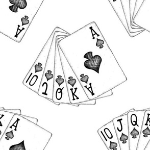 Royal Flush - simple black and white - big scale
