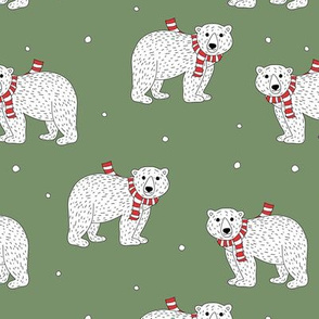Little polar bear in santa scarf christmas holiday animals design seasonal winter wonderland white baby bear on green