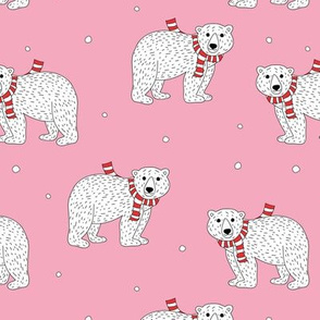 Little polar bear in santa scarf christmas holiday animals design seasonal winter wonderland white baby bear on soft pink girls
