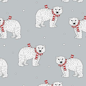 Little polar bear in santa scarf christmas holiday animals design seasonal winter wonderland white baby bear on cool gray blue neutral nursery