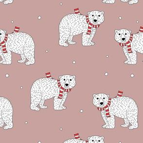 Little polar bear in santa scarf christmas holiday animals design seasonal winter wonderland white baby bear on old rose girls