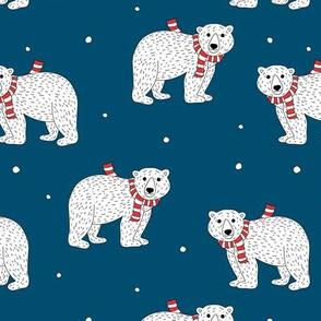 Little polar bear in santa scarf christmas holiday animals design seasonal winter wonderland white baby bear on navy blue night