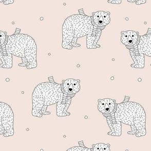 Little polar bear in santa scarf christmas holiday animals design seasonal winter wonderland white baby bear on charcoal gray neutral nursery